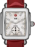 Michele MWW06V000014 Deco 16 Stainless Steel White Diamond Dial Scarlet Patent ladies Swiss watch