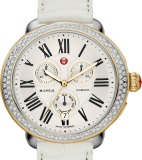 Michele MWW21A000015 Serein Diamond Two Tone Gold, White Alligator ladies Swiss watch